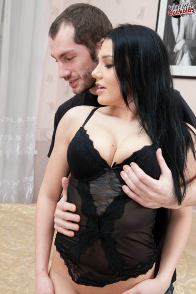 Blackhaired Stephanie totally mocking her ex-boyfriend in front of her new lover